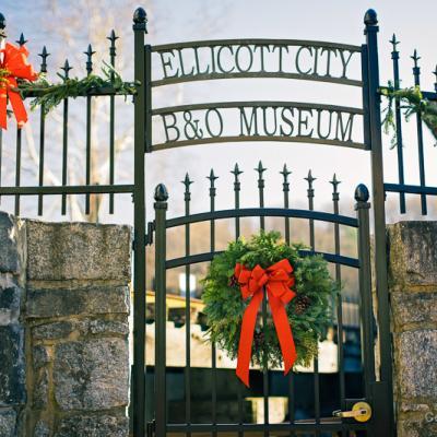 Wreath on Ellicott City B&O Railroad Museum Ellicott City Station Gate