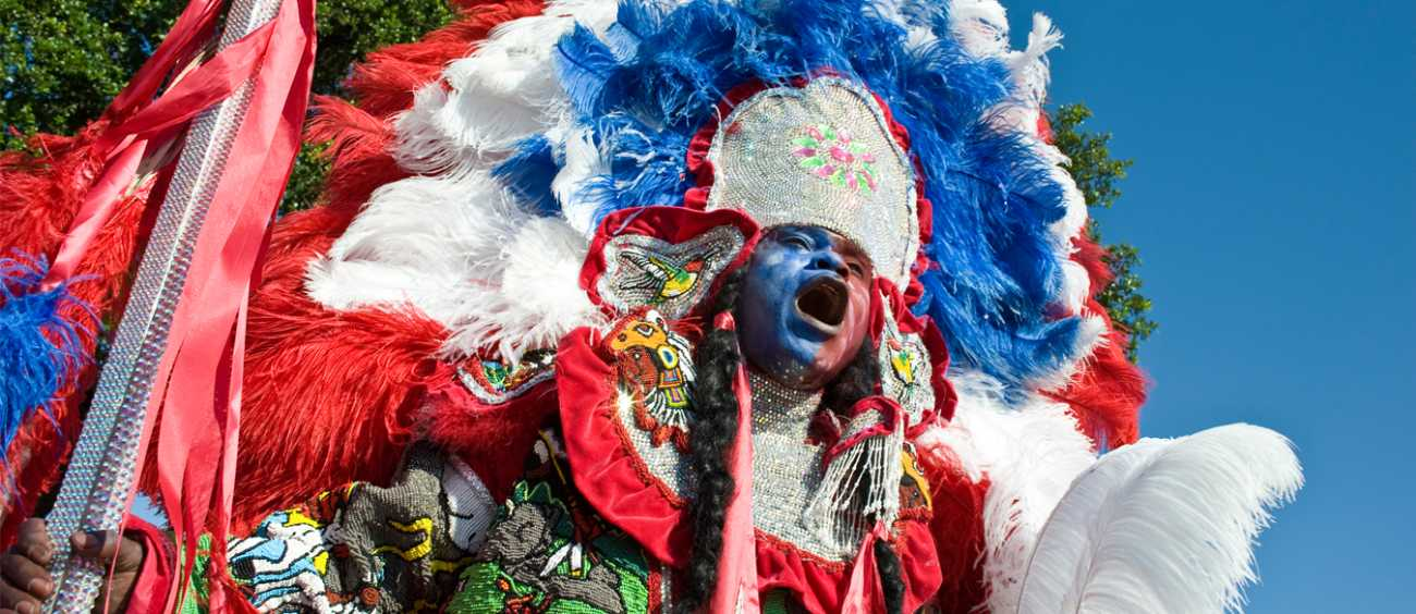 A photo of a Mardi Gras Indian