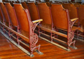 Interior of Morgan Opera House - wooden seats