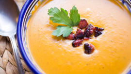 This pumpkin and chorizo soup has the wow factor.