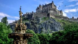 Edinburgh's famous castle sitting on volcanic rock.