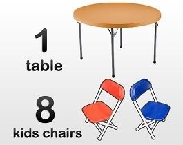 1 4ft Round Kids Table & 8 Kids Chairs