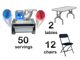 Snow Cone Machine and Tables and Chairs Combo