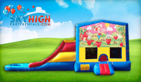 Strawberry Shortcake themed bounce house and slide
