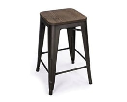 Bronze/Wood Bar Stool