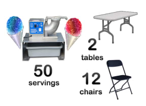 Snow Cone Machine, 2 Rectangle Tables & 12 Chairs Package