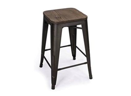 Bronze/Wood Bar Stool