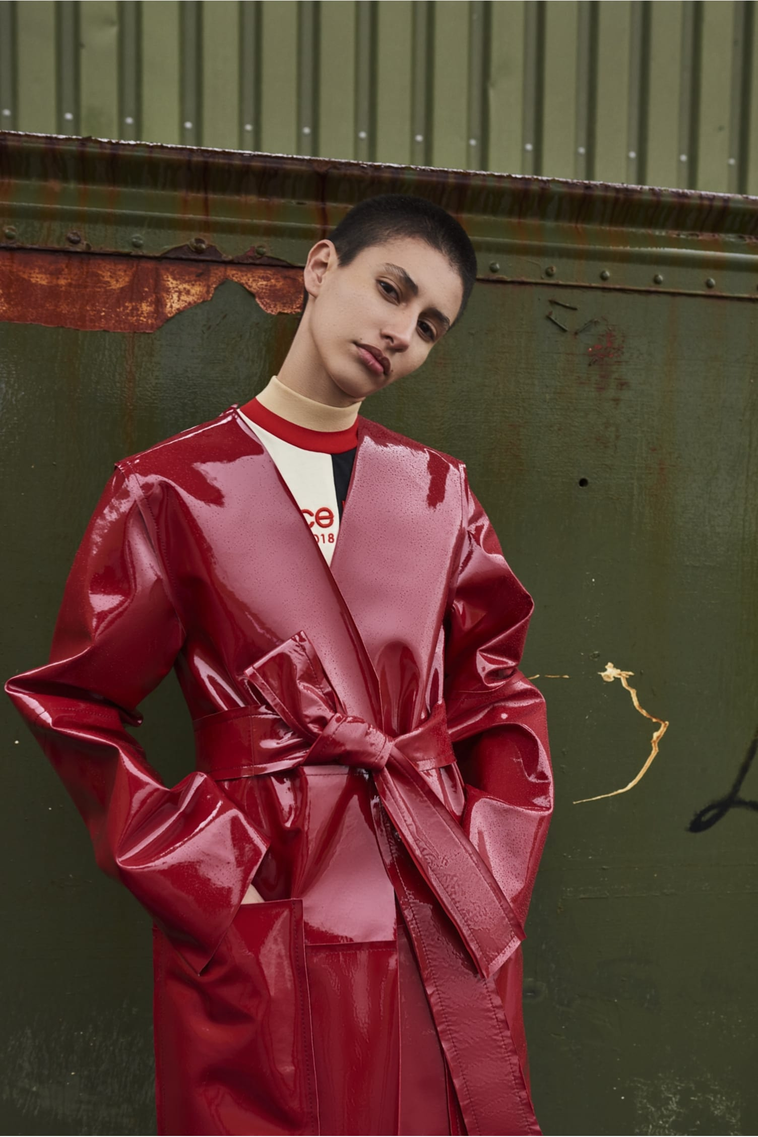 Safina Leather Coat Red