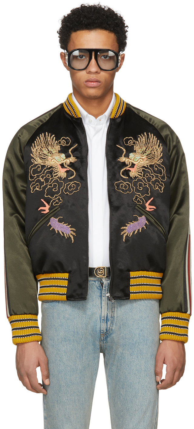 Gucci Black & Green Embroidered Souvenir Jacket