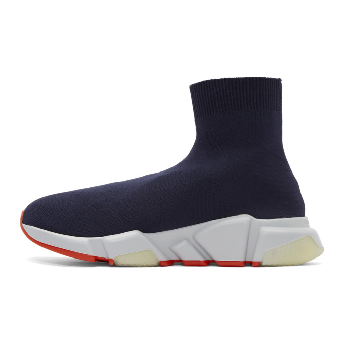 Balenciaga Navy Speed Runners High-Top Sneakers o4h0Y6