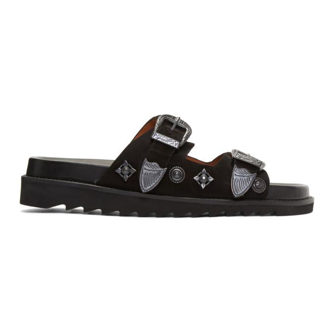 Toga Virilis Black Dual Strap Sandals 72OMzu6Hz