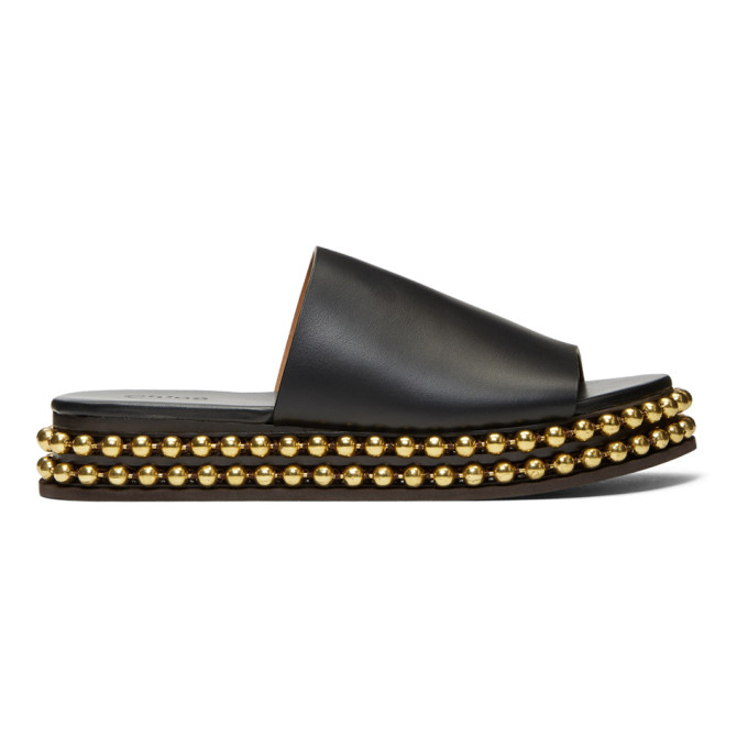 Chloé Black & Gold Sawyer Sandals DseGG