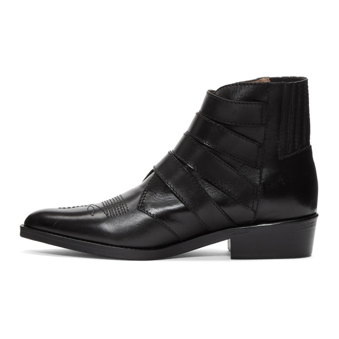 sale footaction latest collections for sale Toga Virilis Black Leather Four-Buckle Boots cheap sale great deals sale brand new unisex G9xru