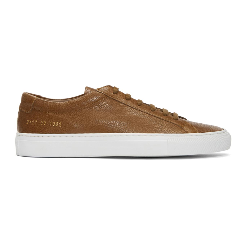 Common Projects Tan & White Original Achilles Low Premium Sneakers dOZfcUb9xU