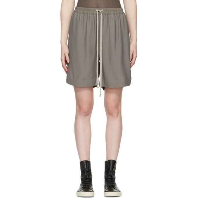 Grey Drawstring Boxer Shorts by Rick Owens