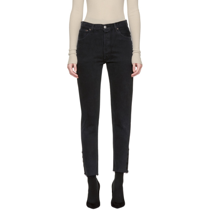 OLIVIER THEYSKENS Cropped Cotton Jeans in Black