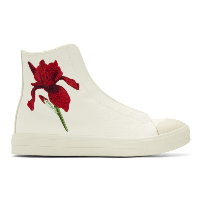 Ivory Embroidered Iris Sneakers Alexander McQueen