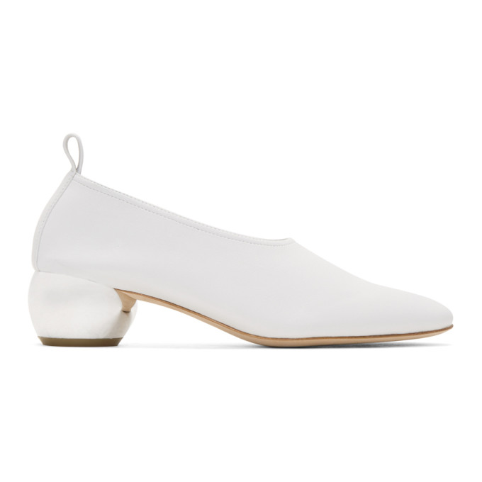 White Leather Dalia Heels by Opening Ceremony