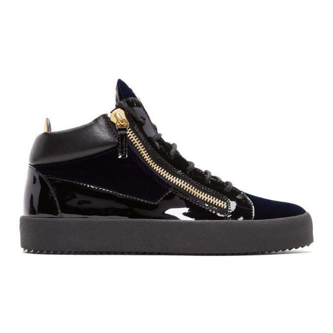 9a2b5605886a8 Giuseppe Zanotti Navy Velvet Veronica High-Top Sneakers | ModeSens
