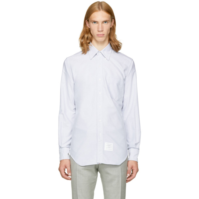Grey Classic Button Down Shirt by Thom Browne