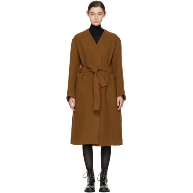 STUDIO NICHOLSON Studio Nicholson Brown Maselli Robe Coat in Tobacco