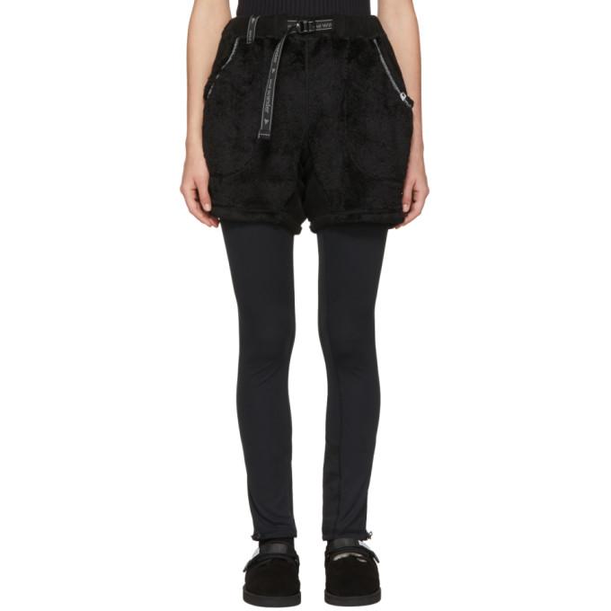 AND WANDER Black High Loft Fleece Shorts