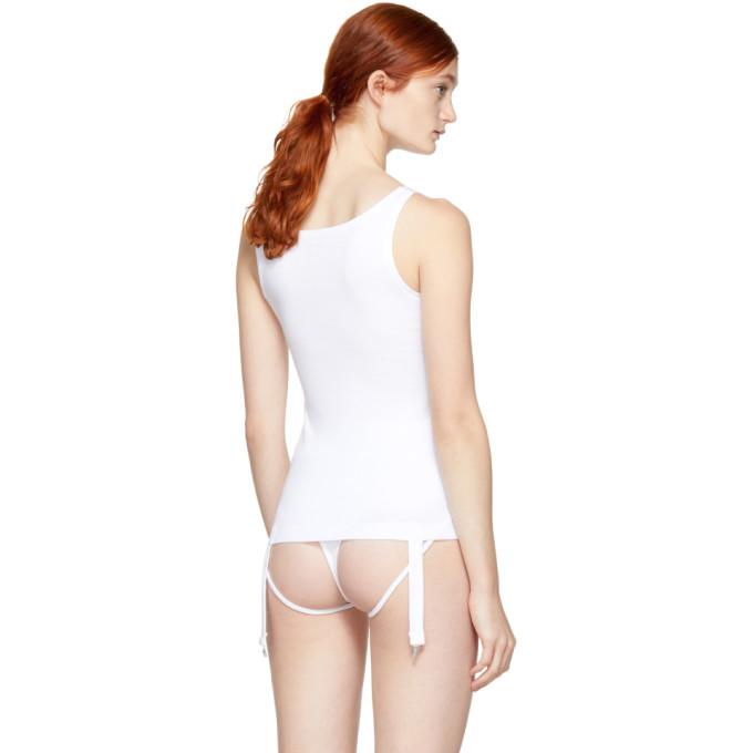 White Niina Suspenders Tank Top Marieyat