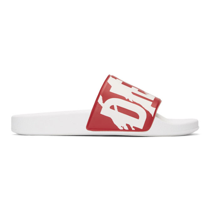 Diesel  DIESEL RED AND WHITE SA-MARAL SLIDES