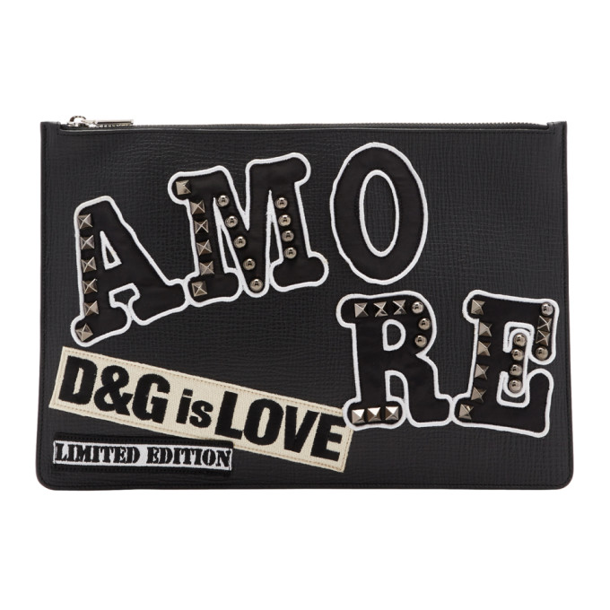 DOLCE AND GABBANA BLACK AMORE POUCH