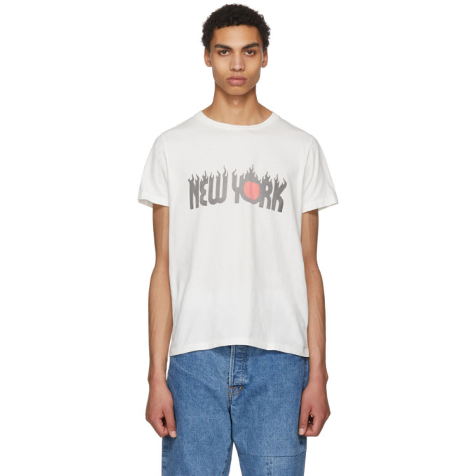 REMI RELIEF Remi Relief Off-White New York Fire Long Wash Finish T-Shirt in Offwhite
