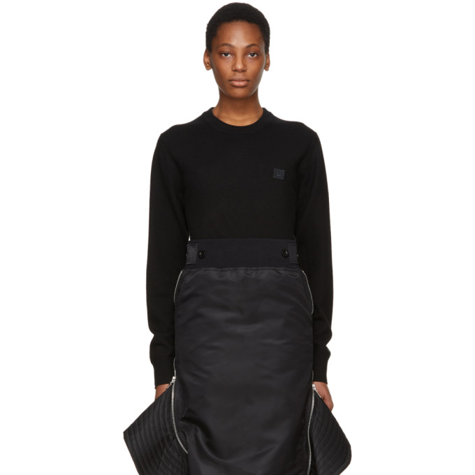 Fairview Oversized Face Embroidered Sweater In Black