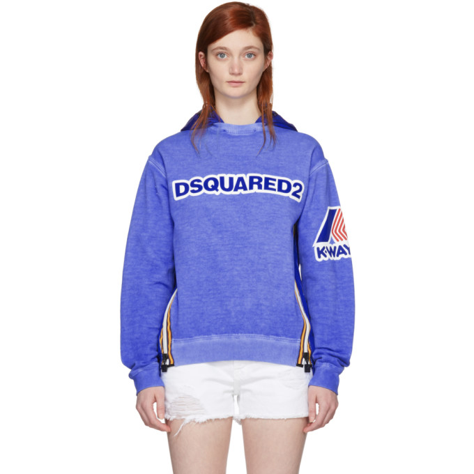 Blue K Way Edition Cool Fit Hoodie by Dsquared2