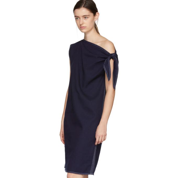 Navy Asymmetric Raw Denim Dress Maison Martin Margiela