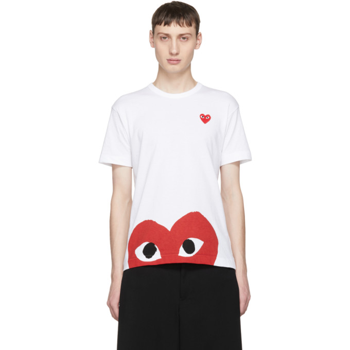 White & Red Half Heart T Shirt by Comme Des GarÇons Play