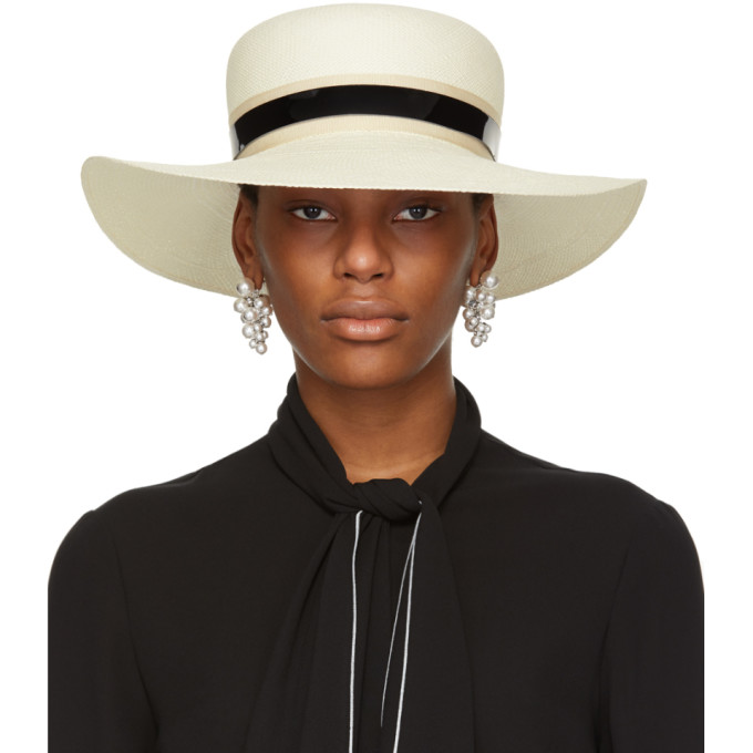 LANVIN Ivory Straw Capeline Hat