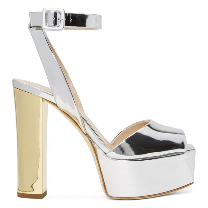 fdb445aa2c021 Giuseppe Zanotti Lavinia Mirrored-Leather Platform Sandals In Silver ...