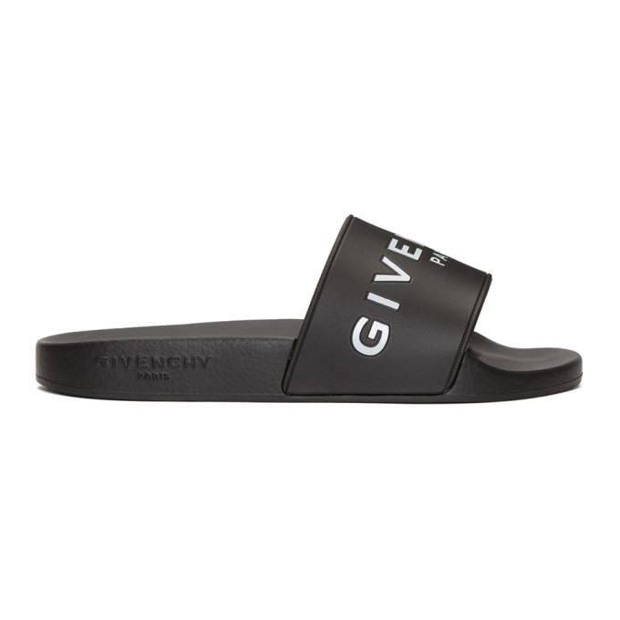 Givenchy Logo Rubber Slide Sandals - Black Size 5