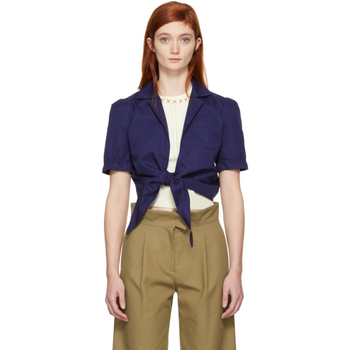 Navy Tie Front Blouse by Carven