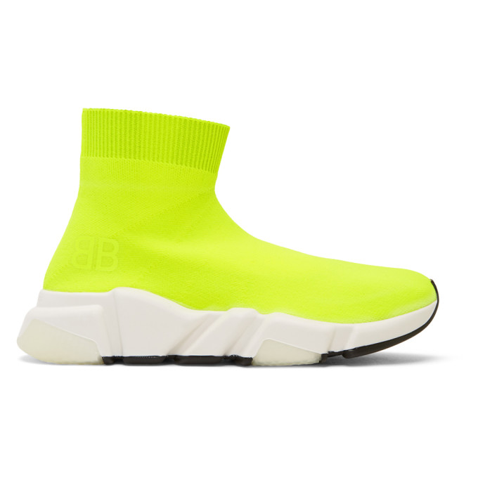 Balenciaga Speed Neon Stretch-Knit High-Top Sneakers In Yellow