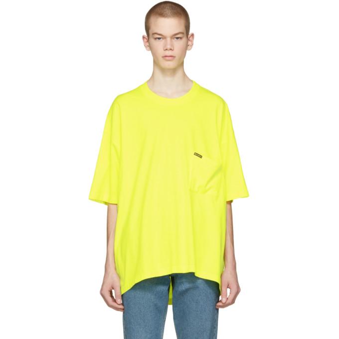 447521b451c7 Balenciaga Slouchy-Pocket Cotton Oversized T-Shirt In Yellow ...