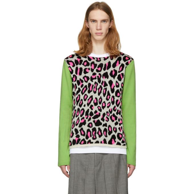 White & Green Knit Leopard Sweater by Comme Des GarÇons Homme Plus