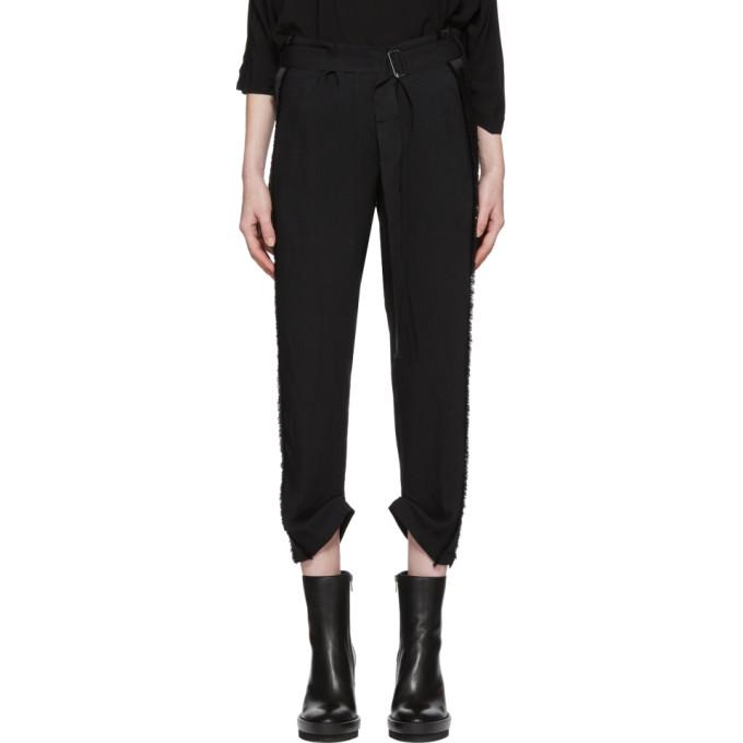 Black Grosgrain Belted Trousers by Ann Demeulemeester