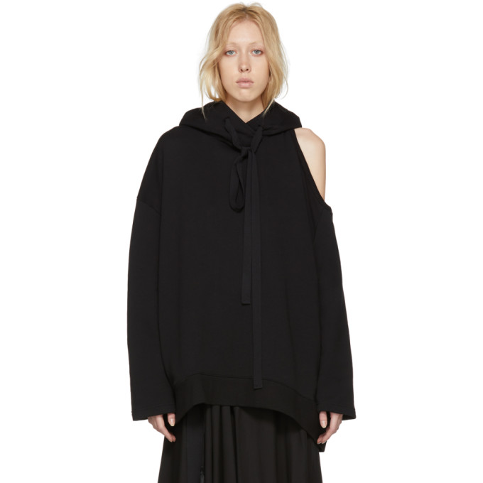 Black Tony Cold Shoulder Hoodie by Ann Demeulemeester