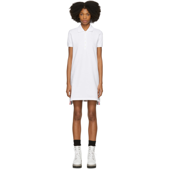 Thom Browne White Short Sleeve A-Line Polo Dress, 100 White