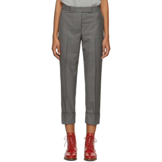 Wool Twill Crop Trousers - Med Grey Size 40