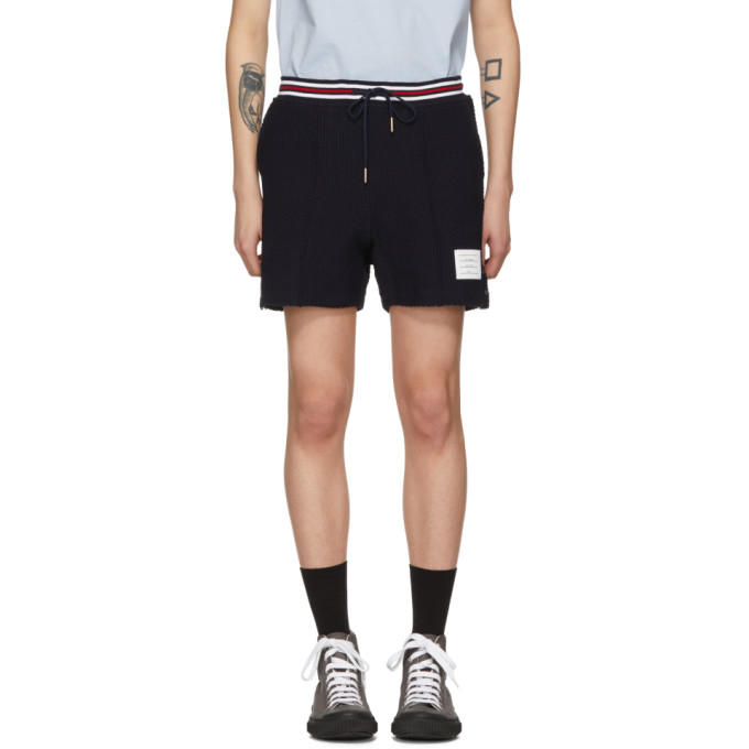 Navy Basket Stitch Pin Tuck Shorts by Thom Browne
