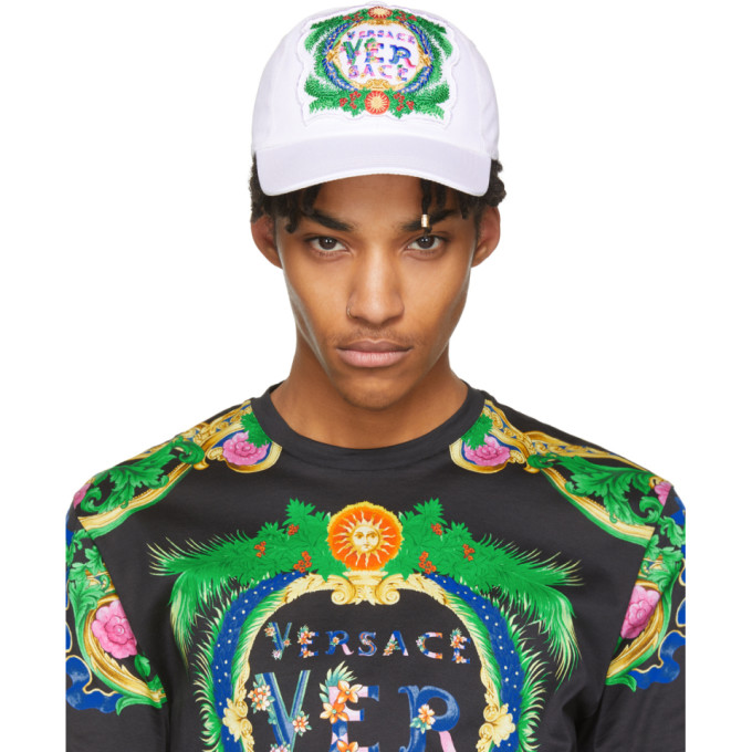 Versace Caps VERSACE WHITE EMBROIDERED NEW SIGNATURE CAP