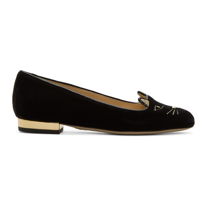 Charlotte Olympia Kitty Cat Face-embroidered Velvet Flats In 002 Black/g