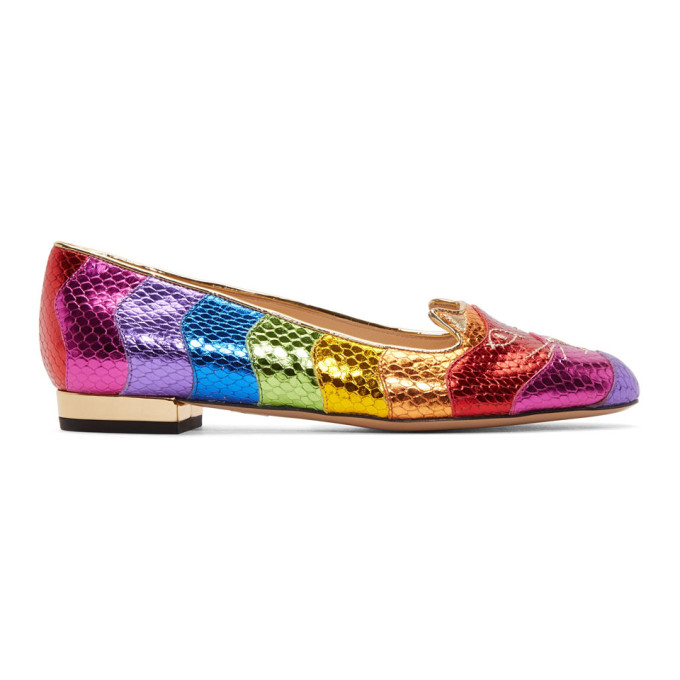Charlotte Olympia Shoes, Snake Print Rainbow Kitty Flat Ballerinas