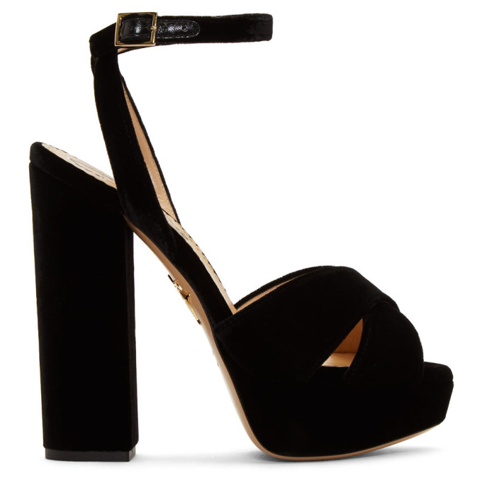 Platform Open-Toe Sandals in Black